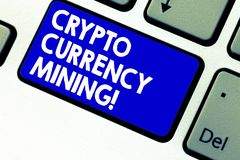 Writing note showing Crypto Currency Mining. Business photo showcasing recording transaction record in the blockchain. System Keyboard key Intention to create royalty free stock images