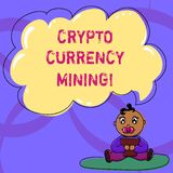 Writing note showing Crypto Currency Mining. Business photo showcasing recording transaction record in the blockchain. System Baby Sitting on Rug with Pacifier royalty free illustration