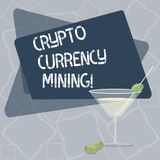 Writing note showing Crypto Currency Mining. Business photo showcasing recording transaction record in the blockchain. System Filled Cocktail Wine Glass with stock illustration