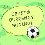 Writing note showing Crypto Currency Mining. Business photo showcasing recording transaction record in the blockchain system. Soccer Ball on the Grass and Blank stock illustration