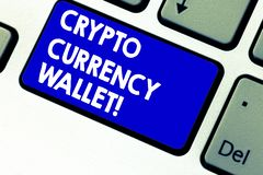 Writing note showing Crypto Currency Wallet. Business photo showcasing Digital wallet that allows users to analysisage. Bitcoin Keyboard key Intention to create royalty free stock images