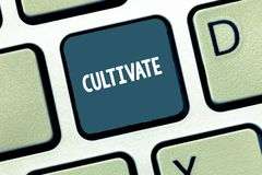 Writing note showing Cultivate. Business photo showcasing prepare and use land for crops gardening grow or maintain. Keyboard Intention to create computer stock image