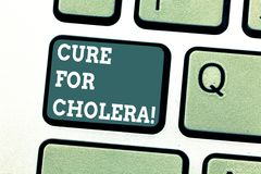 Writing note showing Cure For Cholera. Business photo showcasing restoration of lost fluids and salts through royalty free stock photos