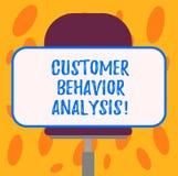 Writing note showing Customer Behavior Analysis. Business photo showcasing buying behaviour of consumers who use goods. Blank Rectangular Shape Sticker Sitting royalty free illustration