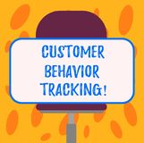 Writing note showing Customer Behavior Tracking. Business photo showcasing Action that a user takes related to your company Blank. Rectangular Shape Sticker royalty free illustration