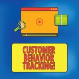 Writing note showing Customer Behavior Tracking. Business photo showcasing Action that a user takes related to your. Company Tablet Video Player Upload and stock illustration