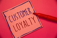Writing note showing Customer Loyalty. Business photo showcasing Client Satisfaction Long-Term relation Confidence Ideas concepts. Intentions on pink paper stock photos