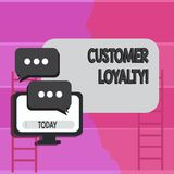 Writing note showing Customer Loyalty. Business photo showcasing Client Satisfaction LongTerm relation Confidence. Writing note showing Customer Loyalty stock photo