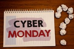 Writing note showing  Cyber Monday. Business photos showcasing Special sales after Black Friday Online Shopping E-commerce. Writing note showing  Cyber Monday Stock Images