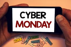 Writing note showing  Cyber Monday. Business photos showcasing Special sales after Black Friday Online Shopping E-commerce. Writing note showing  Cyber Monday Stock Photography