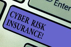 Writing note showing Cyber Risk Insurance. Business photo showcasing covers financial losses that result from data. Breaches Keyboard key Intention to create royalty free stock photo