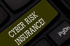 Writing note showing Cyber Risk Insurance. Business photo showcasing covers financial losses that result from data. Breaches Keyboard key Intention to create royalty free stock images