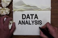 Writing note showing Data Analysis. Business photo showcasing Translate numbers to Analytical Conclusion Forecasting Man holding m royalty free stock photos
