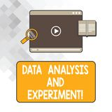 Writing note showing Data Analysis And Experiment. Business photo showcasing Technological research statistics review Tablet Video royalty free stock images
