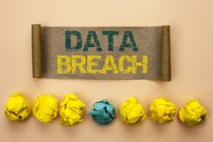 Writing note showing  Data Breach. Business photo showcasing Stolen Cybercrime Information Hacking Security Malicious Crack writte. N Cardboard Paper the plain Royalty Free Stock Images
