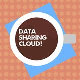 Writing note showing Data Sharing Cloud. Business photo showcasing using internet technologies to share files between royalty free illustration
