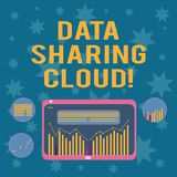 Writing note showing Data Sharing Cloud. Business photo showcasing using internet technologies to share files between. Users Digital Combination of Column Line stock illustration