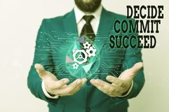 Free Writing Note Showing Decide Commit Succeed. Business Photo Showcasing Achieving Goal Comes In Three Steps Reach Your Stock Photos - 160895063