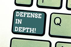 Writing note showing Defense In Depth. Business photo showcasing arrangement defensive lines or fortifications defend. Others Keyboard key Intention to create stock illustration