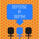Writing note showing Defense In Depth. Business photo showcasing arrangement defensive lines or fortifications defend. Others Space Color Arrow Pointing to One vector illustration