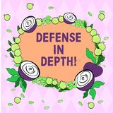 Writing note showing Defense In Depth. Business photo showcasing arrangement defensive lines or fortifications defend. Others Floral Wreath made of Tiny Seeds vector illustration