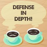 Writing note showing Defense In Depth. Business photo showcasing arrangement defensive lines or fortifications defend. Others Sets of Cup Saucer for His and stock illustration