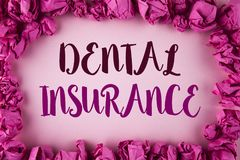 Writing note showing  Dental Insurance. Business photo showcasing Dentist healthcare provision coverage plans claims benefit writt. En plain background within Royalty Free Stock Images