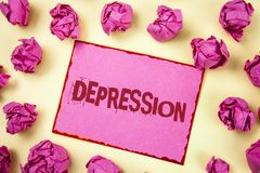 Writing note showing Depression. Business photo showcasing Work stress with sleepless nights having anxiety disorder written on P. Writing note showing royalty free stock photography