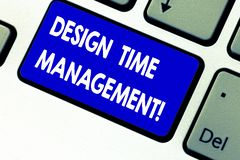 Writing note showing Design Time Management. Business photo showcasing Coordination of activities to maximize the effort. Keyboard key Intention to create royalty free stock images