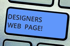 Writing note showing Designers Web Page. Business photo showcasing someone who prepares content for Websites pages royalty free stock images