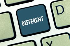 Writing note showing Different. Business photo showcasing not the same as another or each other unlike in nature form. Keyboard Intention to create computer royalty free stock photos