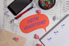 Writing note showing Digital Advertising. Business photo showcasing Online Marketing Deliver Promotional Messages. Writing note showing Digital Advertising royalty free stock images