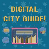 Writing note showing Digital City Guide. Business photo showcasing app which provides assistance information on cultural. Digital Combination of Column Line royalty free illustration