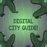 Writing note showing Digital City Guide. Business photo showcasing app which provides assistance information on cultural. Starfish on Four Corners with Pebbles stock illustration