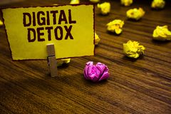 Writing note showing Digital Detox. Business photo showcasing Free of Electronic Devices Disconnect to Reconnect. Unplugged Clothespin holding yellow paper note stock photo