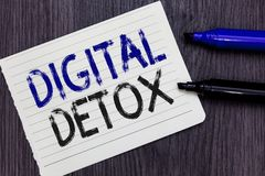 Writing note showing Digital Detox. Business photo showcasing Free of Electronic Devices Disconnect to Reconnect. Unplugged Notebook Paper Reminder stock images