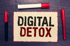 Writing note showing Digital Detox. Business photo showcasing Free of Electronic Devices Disconnect to Reconnect Unplugged Open no. Tebook page markers royalty free stock photos