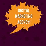 Writing note showing Digital Marketing Agency. Business photo showcasing Helps business engage with exact target audiences Blank. Oval Color Speech Bubble with stock illustration