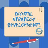 Writing note showing Digital Strategy Development. Business photo showcasing maximizing the business benefits assets. Square Color Board with Magnet Click vector illustration