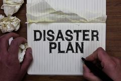 Writing note showing Disaster Plan. Business photo showcasing Respond to Emergency Preparedness Survival and First Aid Kit Man hol stock photography
