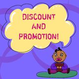 Writing note showing Discount And Promotion. Business photo showcasing reductions to a basic price of goods or services. Baby Sitting on Rug with Pacifier Book royalty free illustration