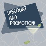 Writing note showing Discount And Promotion. Business photo showcasing reductions to a basic price of goods or services Filled. Cocktail Wine Glass with Olive royalty free illustration