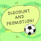 Writing note showing Discount And Promotion. Business photo showcasing reductions to a basic price of goods or services. Soccer Ball on the Grass and Blank stock illustration