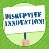 Writing note showing Disruptive Innovation. Business photo showcasing displacing established marketleading firms or. Writing note showing Disruptive Innovation stock illustration
