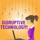 Writing note showing Disruptive Technology. Business photo showcasing one that displaces an established technology photo. Writing note showing Disruptive royalty free illustration