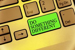 Writing note showing Do Something Different. Business photo showcasing be unique Think outside of the box Have some fun Keyboard b. Utton symbol typing job royalty free stock photos