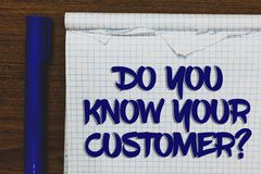 Writing note showing Do You Know Your Customer question. Business photo showcasing Have into account client likes opinion Written. White notepad on grey wooden stock photos