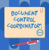 Writing note showing Document Control Coordinator. Business photo showcasing analysisaging and controlling company. Documents Square Color Board with Magnet stock illustration