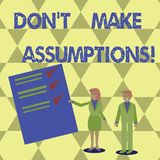 Writing note showing Don T Make Assumptions. Business photo showcasing predict events future without clue Alternative. Facts royalty free illustration