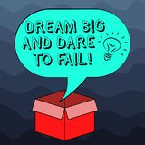 Writing note showing Dream Big And Dare To Fail. Business photo showcasing Motivation inspiration prepare to make vector illustration